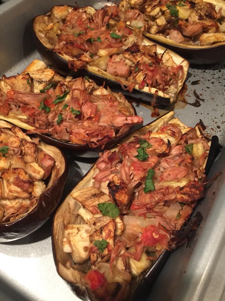 vegan-jackfruit-stuffed-eggplant
